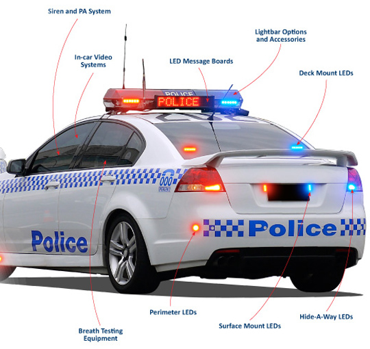 Police Car With Warning Equipment Led